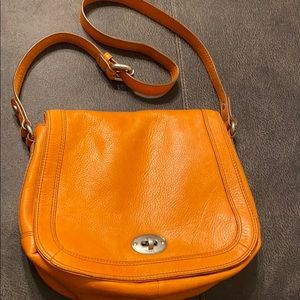 Springtime orange leather fossil bag